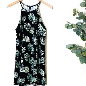 Forever 21 Dress Black with Greenery Detail Sz L
